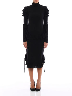 Dsquared2: knee length dresses online - Frilled jersey dress