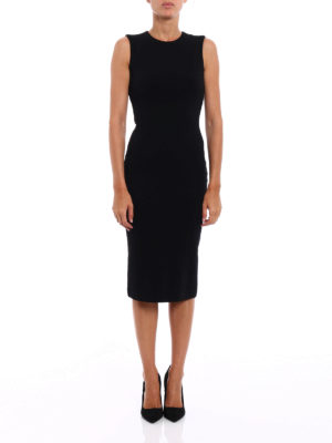 Dsquared2: knee length dresses online - Wool jersey sleeveless sheath dress