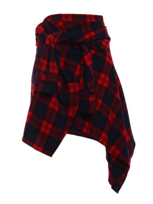 Dsquared2: Knee length skirts & Midi - Tartan wool blend asymmetric skirt