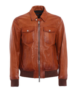Dsquared2: leather jacket - Aviator leather jacket