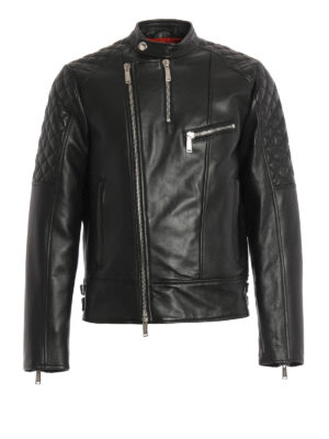 Dsquared2: leather jacket - Biker leather jacket