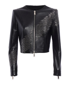 Dsquared2: leather jacket - Brass detail leather jacket