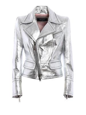 Dsquared2: leather jacket - Laminated leather waisted jacket