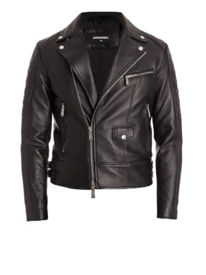 Dsquared2: leather jacket - Leather biker jacket