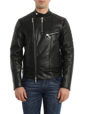 Dsquared2: leather jacket online - Biker leather jacket
