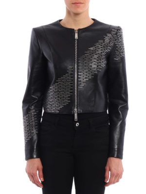 Dsquared2: leather jacket online - Brass detail leather jacket