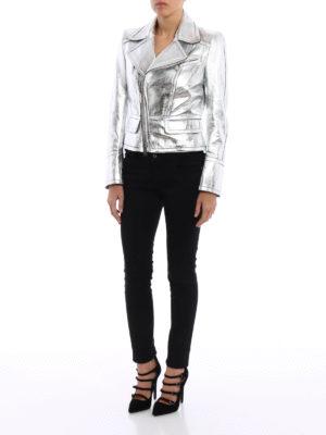 Dsquared2: leather jacket online - Laminated leather waisted jacket