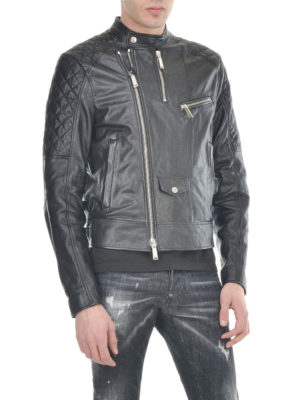 Dsquared2: leather jacket online - Leather biker jacket
