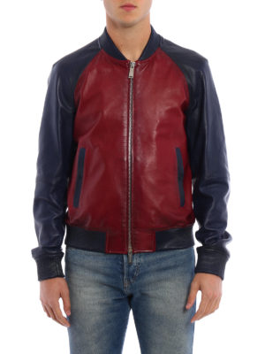 Dsquared2: leather jacket online - Two-tone leather bomber jacket