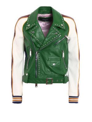 Dsquared2: leather jacket - Scout Studded Biker Jacket