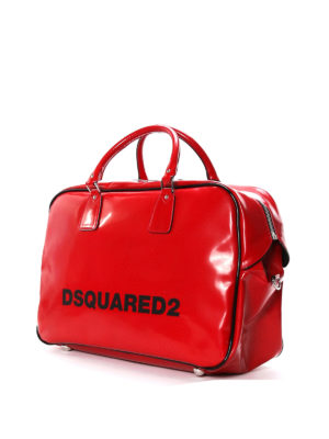 Dsquared2: Luggage & Travel bags online - Faux leather logo duffle bag