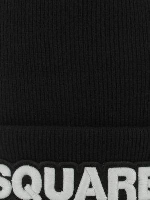 DSQUARED2: berretti online - Berretto Dsquared2 nero in lana a coste