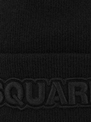 DSQUARED2: berretti online - Berretto Dsquared2 nero in lana a costine