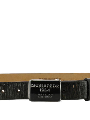 DSQUARED2: cinture online - Cintura in pelle craquelé nera
