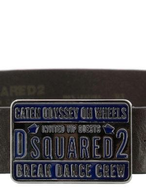 DSQUARED2: cinture online - Cintura Break Dance Crew in pelle marrone