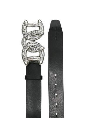 DSQUARED2: cinture online - Cintura in pelle con fibbia stile western