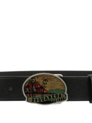DSQUARED2: cinture online - Cintura in pelle con fibbia Hawaii