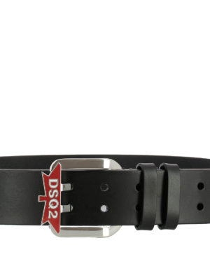 DSQUARED2: cinture online - Cintura nera in pelle e fibbia logo