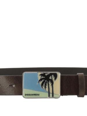 DSQUARED2: cinture online - Cintura in pelle con fibbia palme