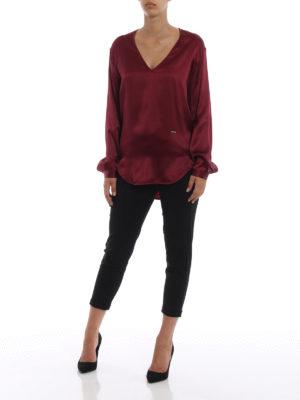 DSQUARED2: bluse online - Blusa asimmetrica a V in satin di seta