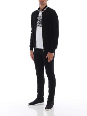 DSQUARED2: cardigan online - Cardigan in lana con collo alto a righe