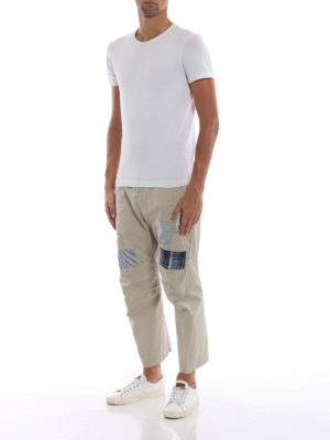 DSQUARED2: pantaloni casual online - Chinos Skipper fit in cotone con toppe