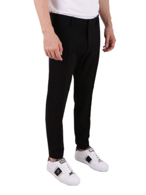 DSQUARED2: pantaloni casual online - Pantaloni in misto lana e viscosa con piega