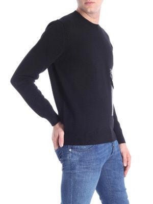DSQUARED2: maglia collo rotondo online - Girocollo in lana con tasca applicata davanti