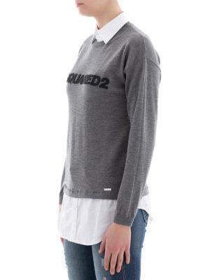 DSQUARED2: maglia collo rotondo online - Girocollo in lana inserti camicia