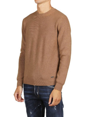 DSQUARED2: maglia collo rotondo online - Pull girocollo in lana color cammello