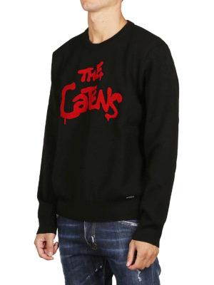 DSQUARED2: maglia collo rotondo online - Pull nero in lana The Catens