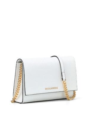 DSQUARED2: borse a tracolla online - Piccola tracolla in pelle bianca