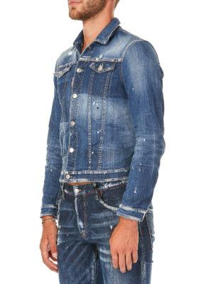 DSQUARED2: giacche denim online - Giacca di jeans effetto usato con macchie