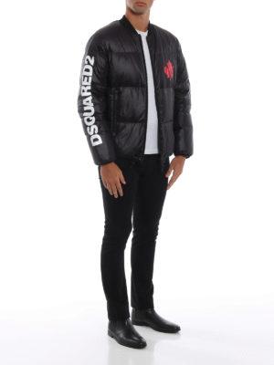 DSQUARED2: giacche imbottite online - Piumino stile bomber in nylon nero con logo