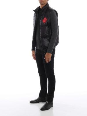 DSQUARED2: giacche imbottite online - Gilet imbottito in nylon nero con logo