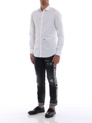 DSQUARED2: camicie online - Camicia bianca classica in popeline di cotone