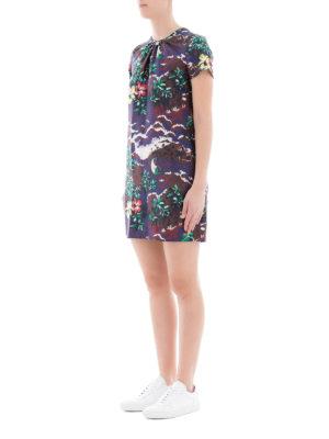 DSQUARED2: abiti corti online - Mini abito in seta stampa hawaiana
