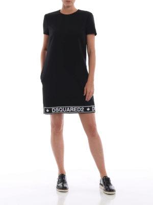 DSQUARED2: abiti corti online - Abito dritto in misto lana con banda logo