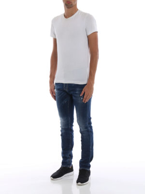 DSQUARED2: jeans skinny online - Jeans Cool Guy lavaggio medio con patch DD