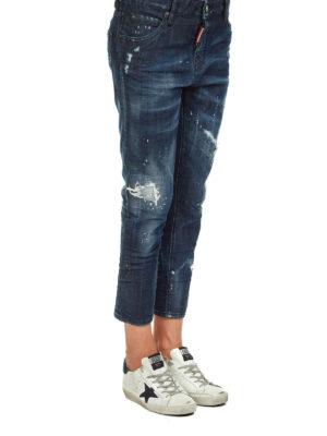 DSQUARED2: jeans skinny online - Jeans crop a vita alta in denim strappato