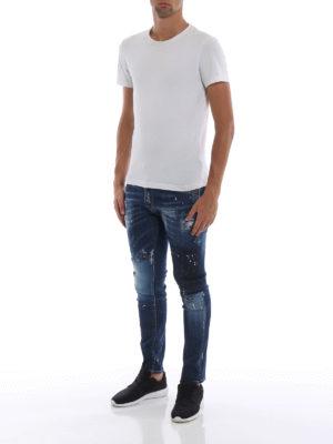 DSQUARED2: jeans skinny online - Jeans Skater in denim scolorito e rovinato