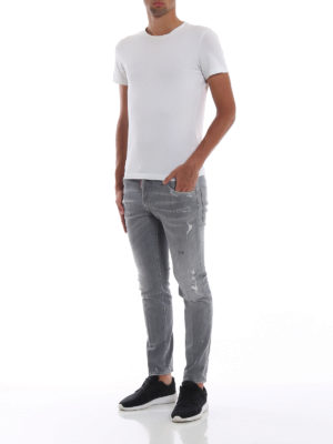 DSQUARED2: jeans skinny online - Jeans skinny destroyed grigi Skater