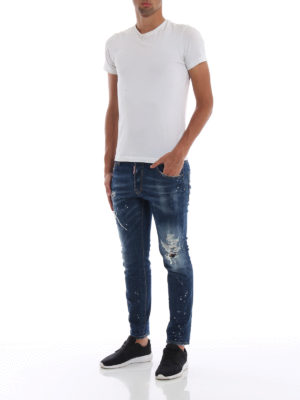 DSQUARED2: jeans skinny online - Jeans skinny Skater effetto used