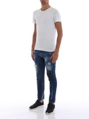 DSQUARED2: jeans skinny online - Jeans Tidy Biker a vita alta e fondo stretto