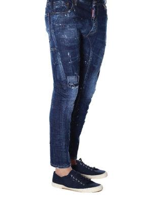 DSQUARED2: jeans skinny online - Jeans Tidy Biker in denim rovinato