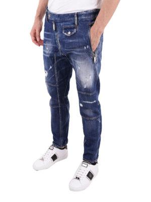 a sigaretta - Jeans consumati con maxi cerniera e pattina