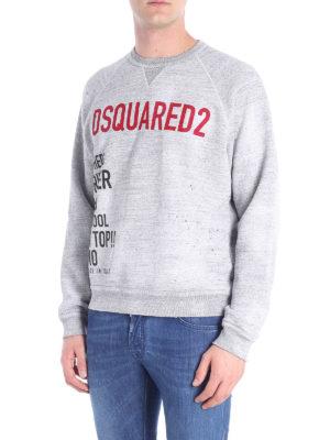 DSQUARED2: Felpe e maglie online - Felpa in cotone con stampa logo a contrasto