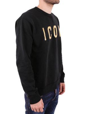 DSQUARED2: Felpe e maglie online - Felpa nera con stampa logo dorato