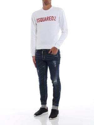 DSQUARED2: Felpe e maglie online - Felpa cotone bianco con logo lettering