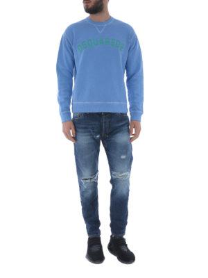 DSQUARED2: Felpe e maglie online - Felpa in cotone azzurro con logo